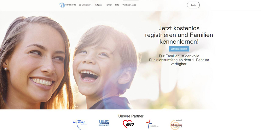 Screenshot der Caregaroo-Website