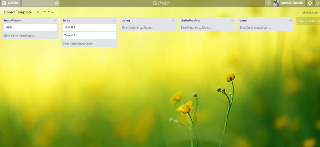 Screenshot vom Trello-Board