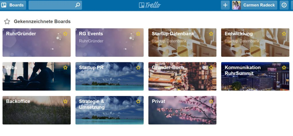 Screenshot vom Online-Tool Trello